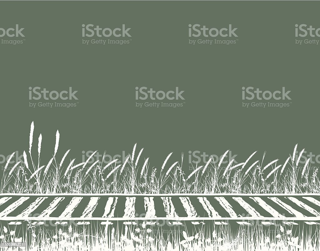 A vector image in white and green of train tracks vector art illustration