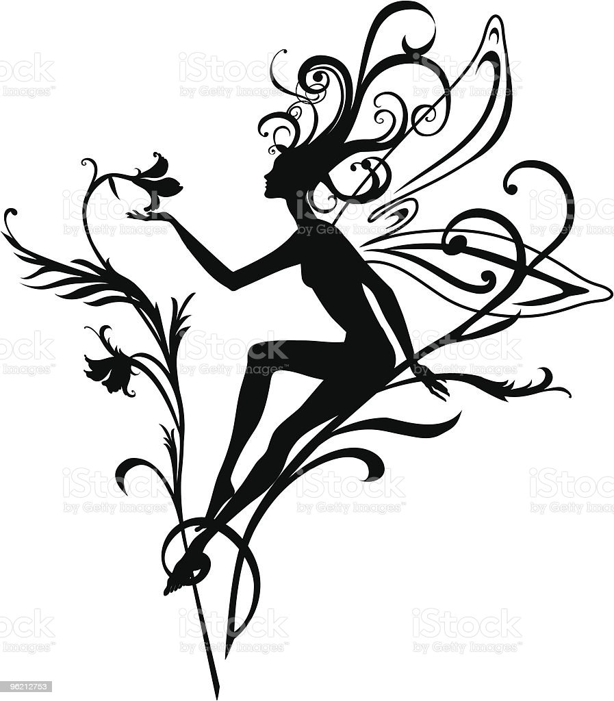 A vector image of a fairy holding a flower royalty-free stock vector art