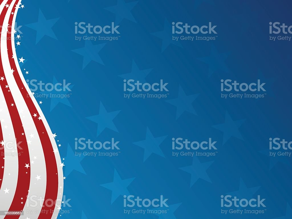 Vector image of a Fourth of July banner with blue stars vector art illustration