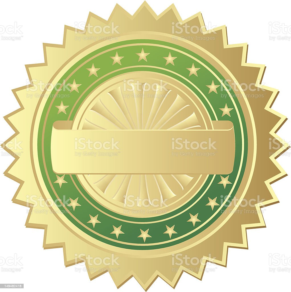 Vector image of a gold and green seal on a white background vector art illustration