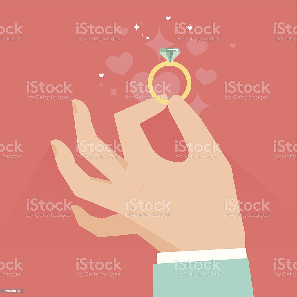 Vector image of a hand holding a diamond ring vector art illustration