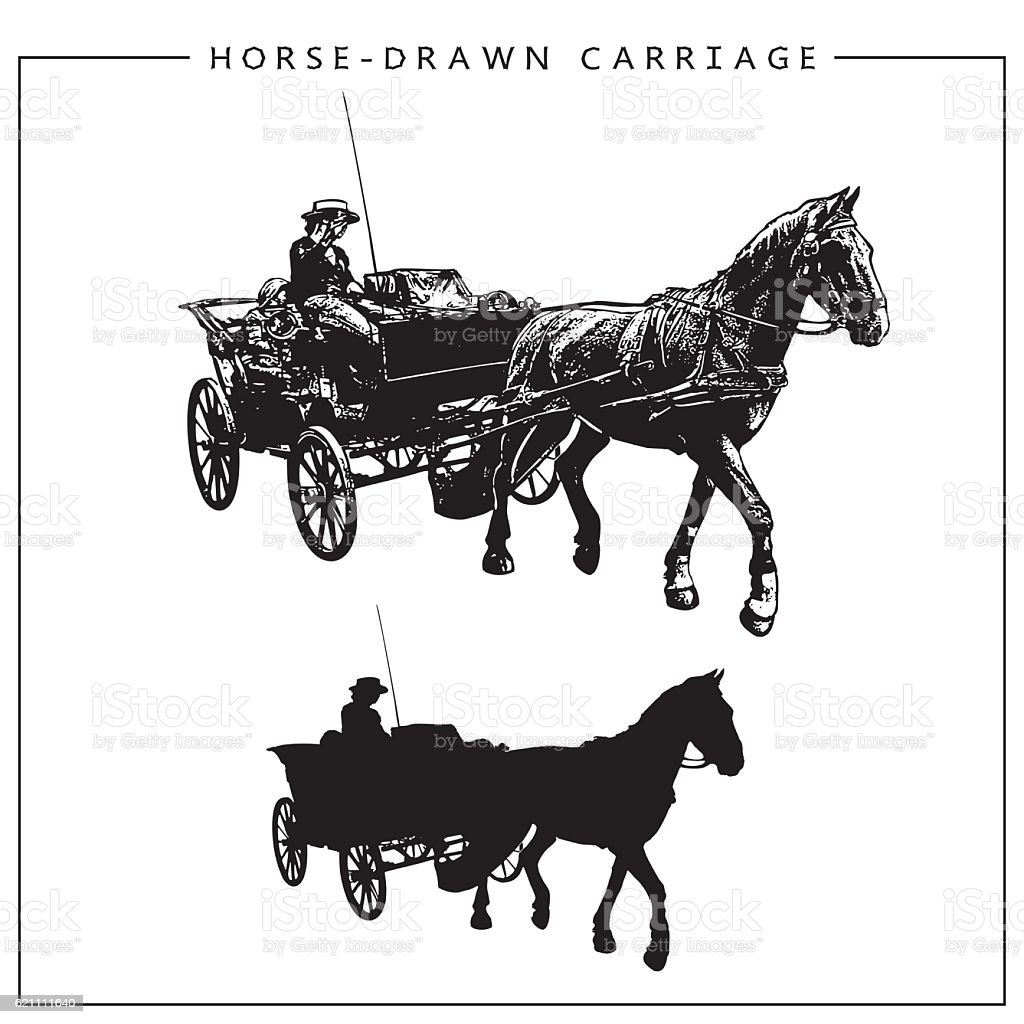 Vector Image of a Horse-drawn Carriage. vector art illustration