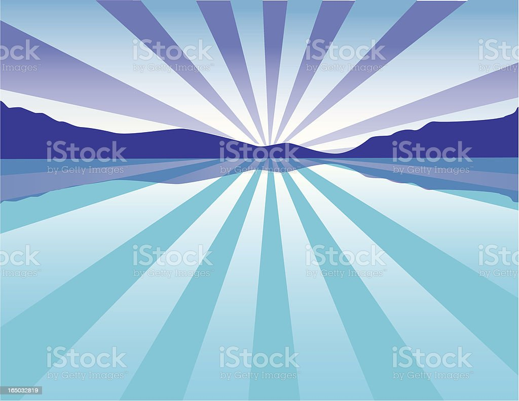 Vector image of a mountain and a lake with sunbeams l vector art illustration