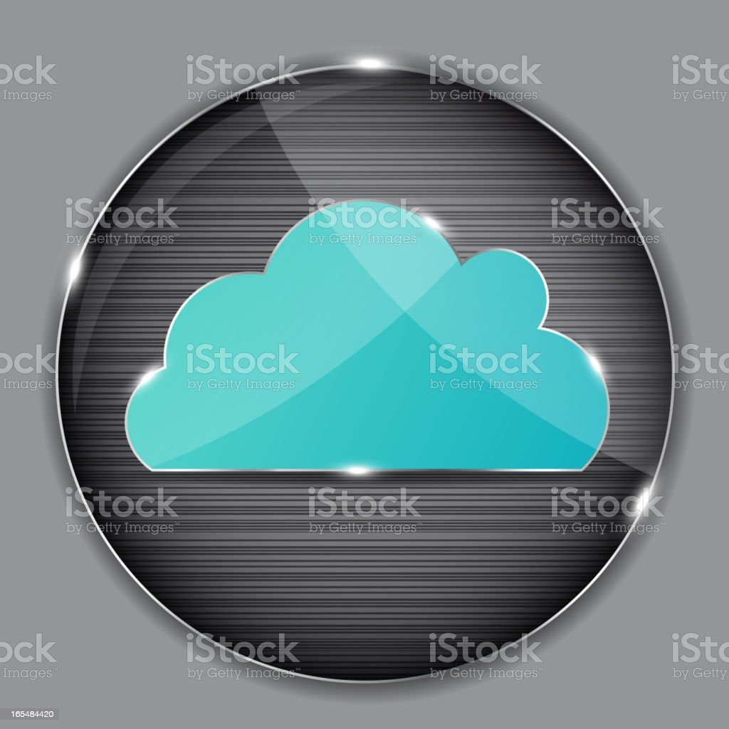 A vector image of a shiny metal cloud icon royalty-free stock vector art