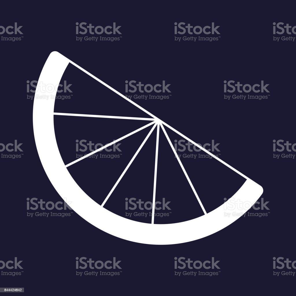 Vector image of a slice of citrus. Vector icon of lemon, orange, lime.  Vector white icon on dark blue background. vector art illustration