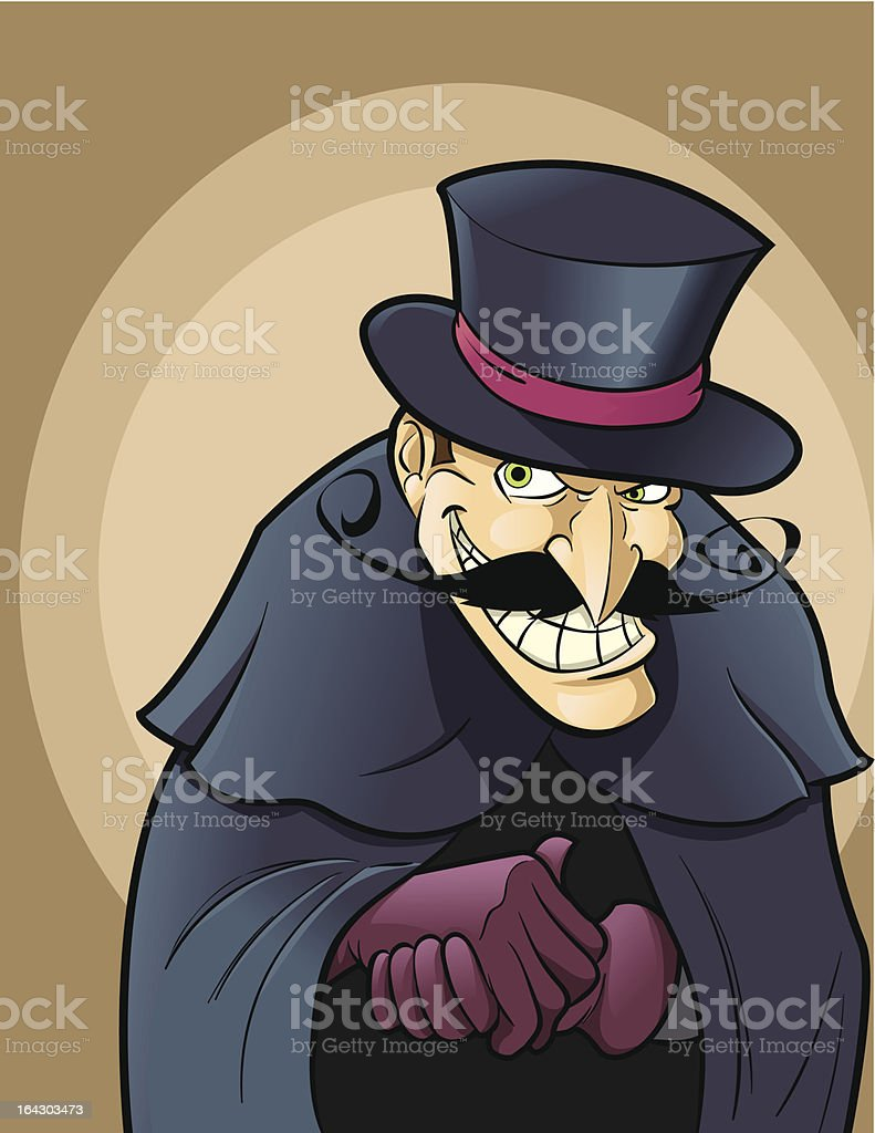 A vector image of a villain that is wearing a cape vector art illustration