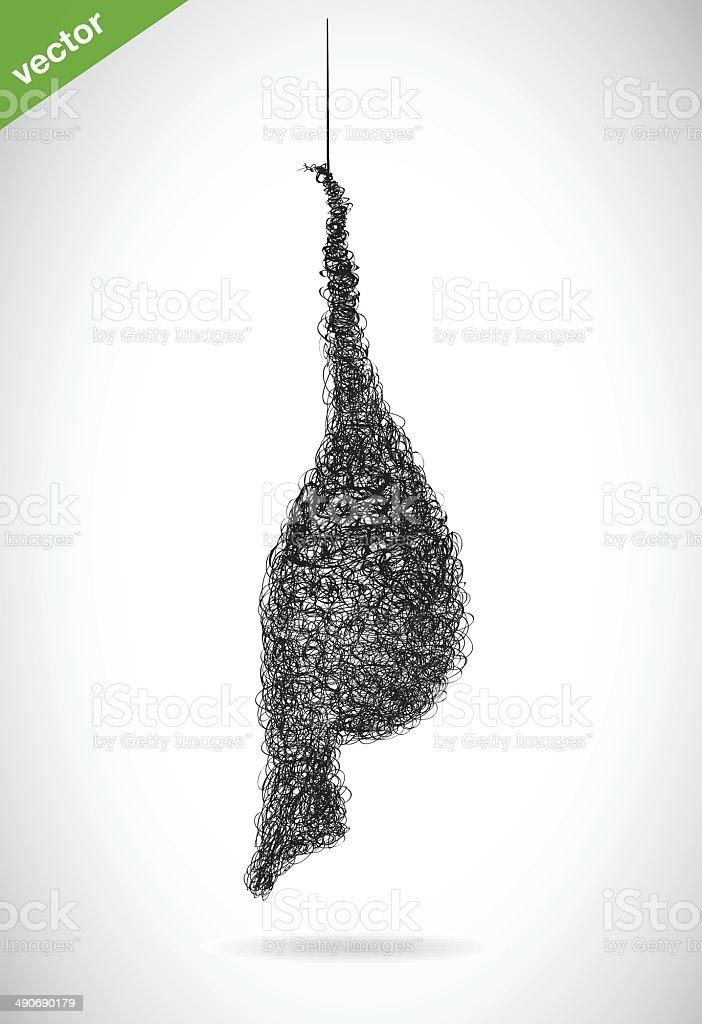 Vector image of an bird's nest vector art illustration