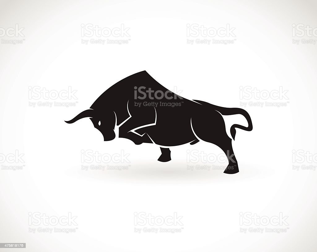 Vector image of an bull on a white background vector art illustration