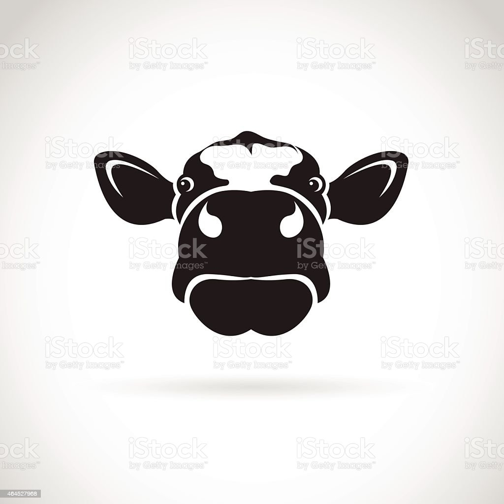 Vector image of an cow head on white background vector art illustration