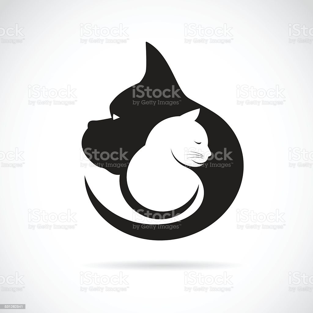 Vector image of an dog and cat on white background vector art illustration