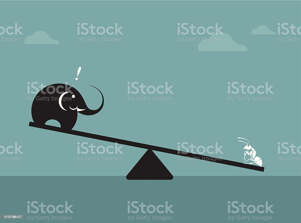 Vector image of an elephant and ant. vector art illustration