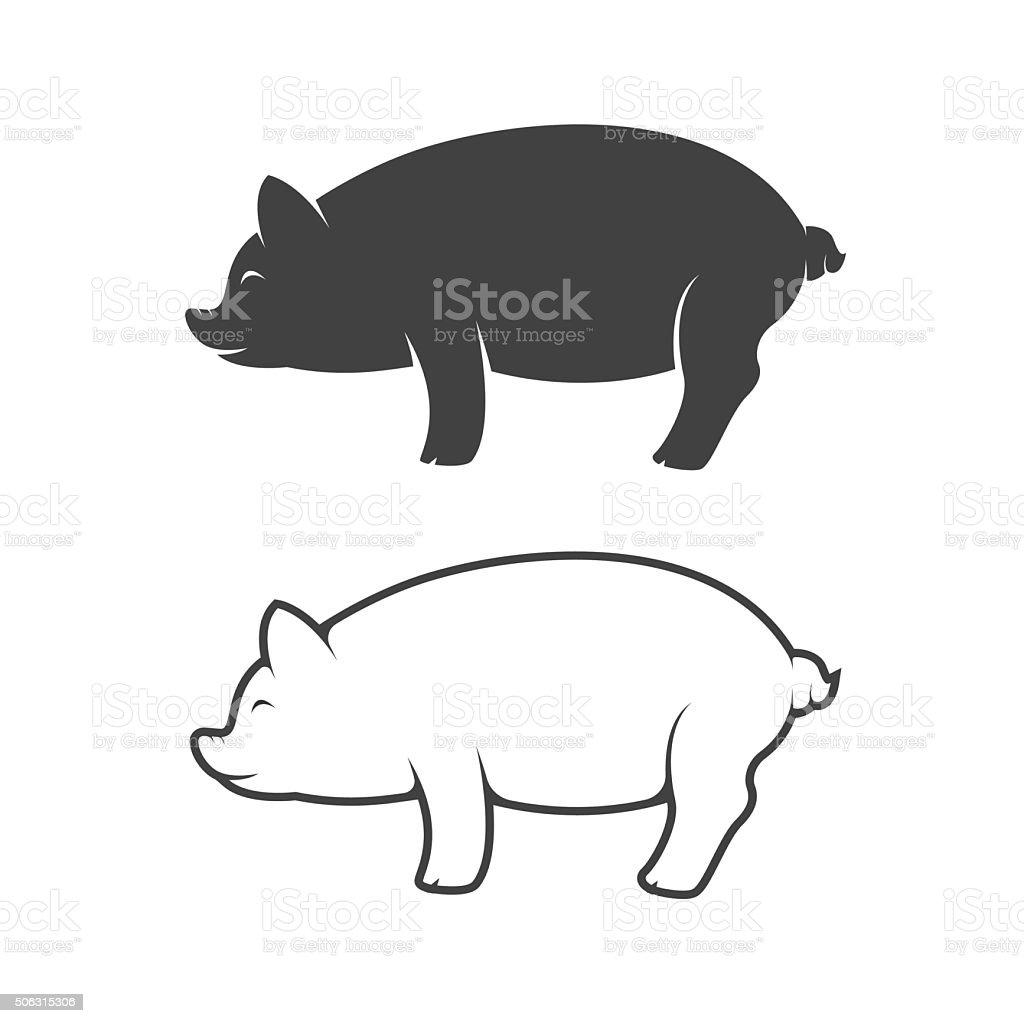 Vector image of an pig design on white background vector art illustration