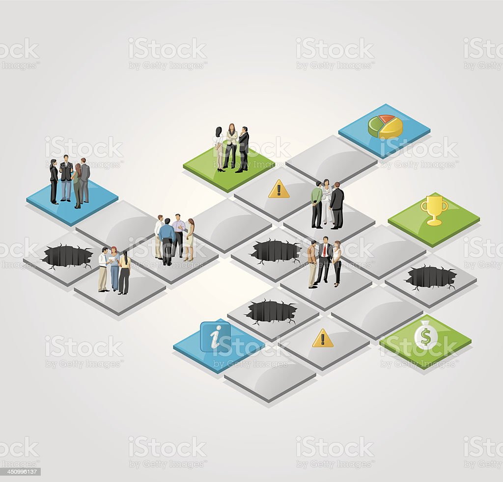 Vector image of board game with business people vector art illustration