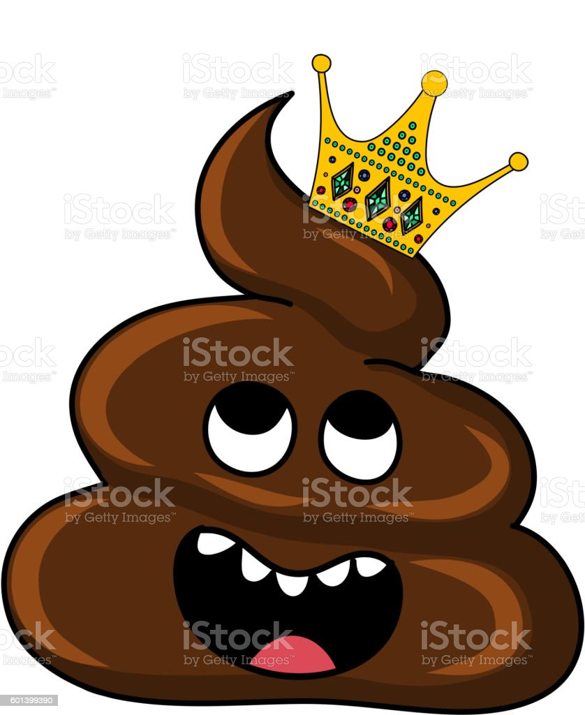 Vector image of brown Shit with crown. Cartoon and Illustration vector art illustration