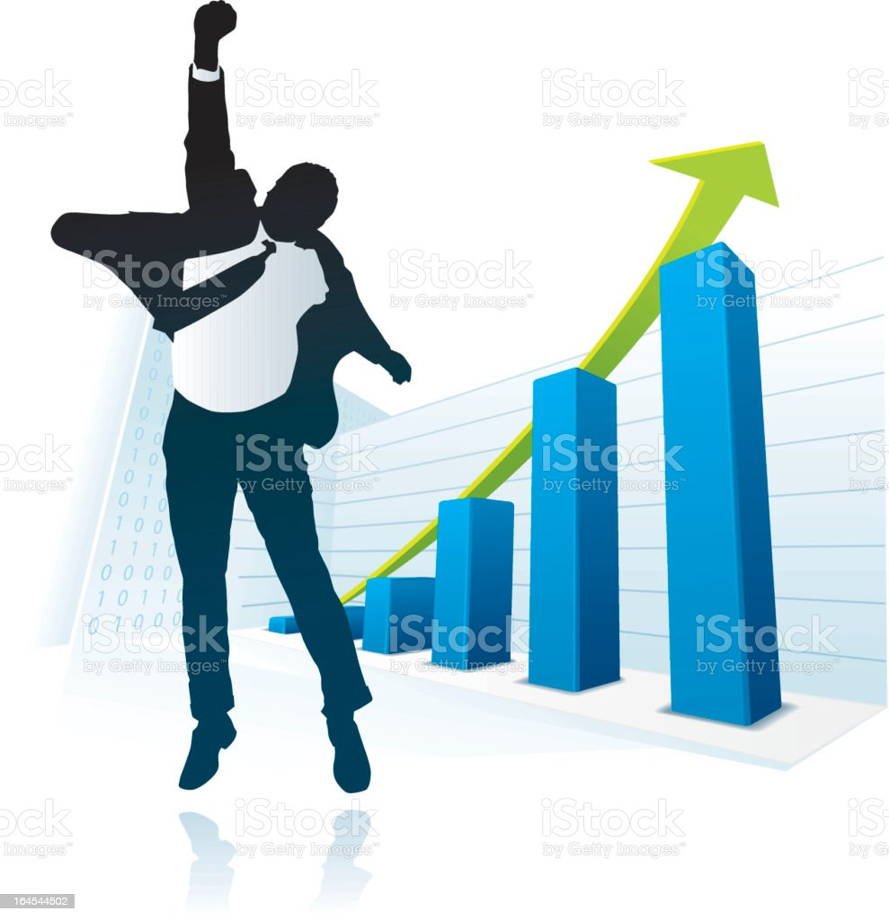 Vector image of businessman happy about ascending bar graph royalty-free stock vector art