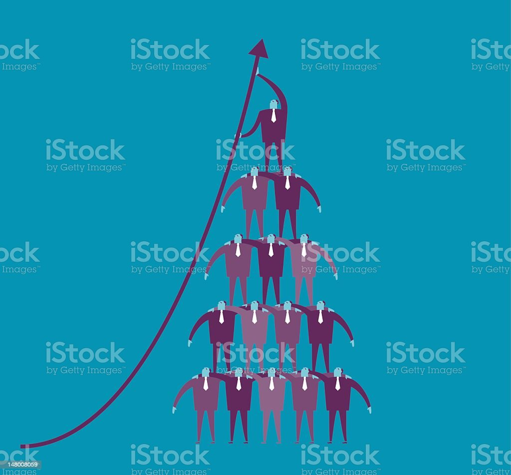 Vector image of businessmen in triangle formation stock photo
