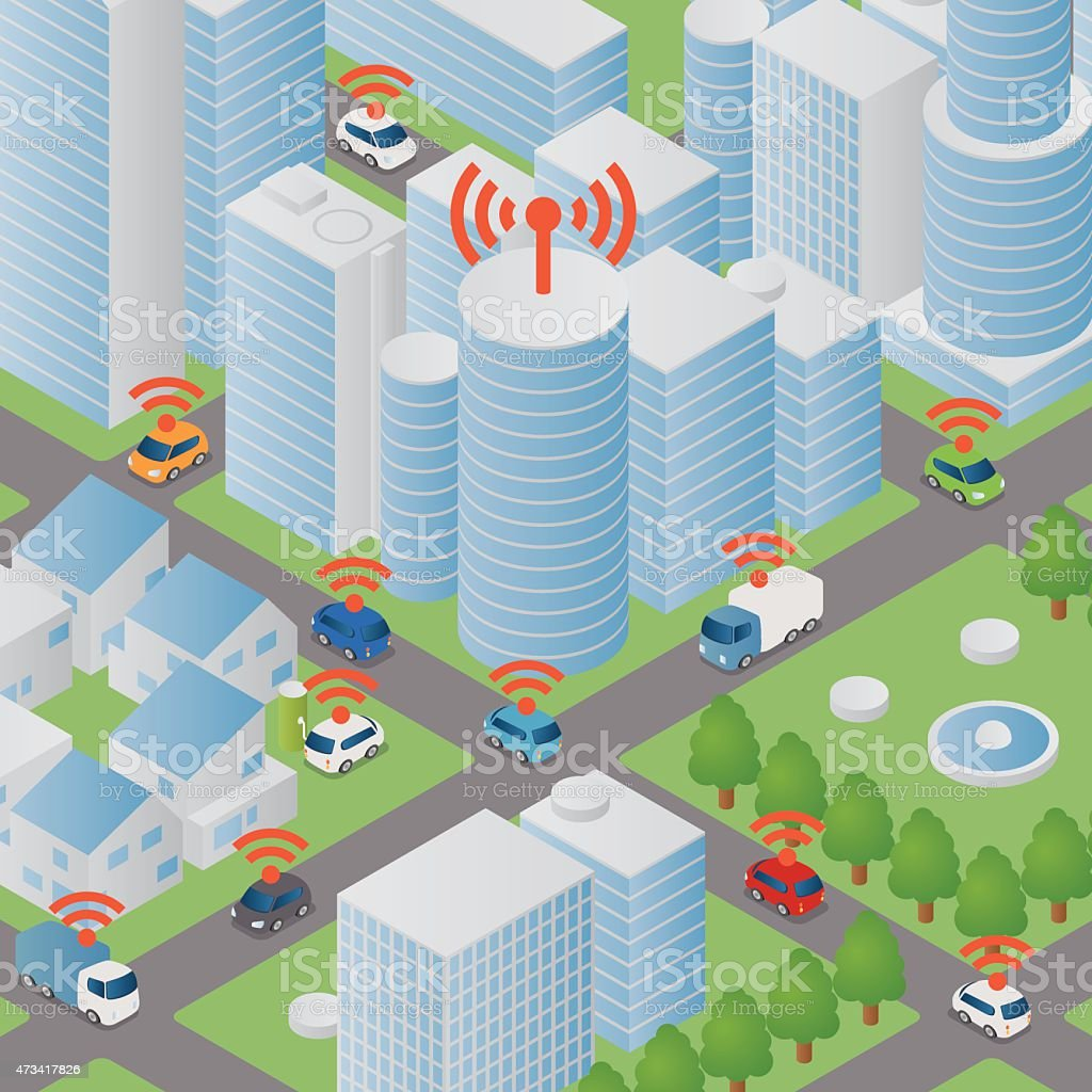 Vector image of city building and cars with wifi signals vector art illustration