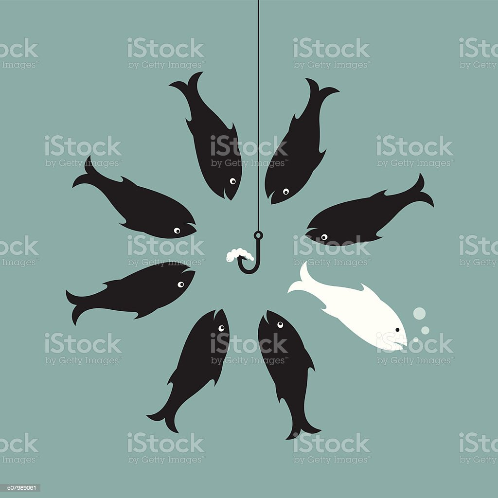 Vector image of fish and earthworm and hook vector art illustration