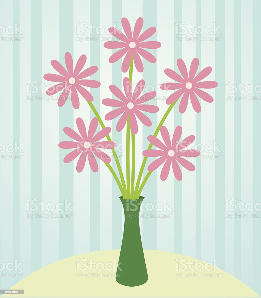 A vector image of flowers in a green vase vector art illustration
