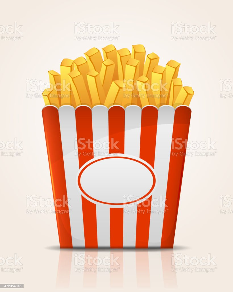 Vector image of French Fries in red and white striped carton royalty-free stock vector art