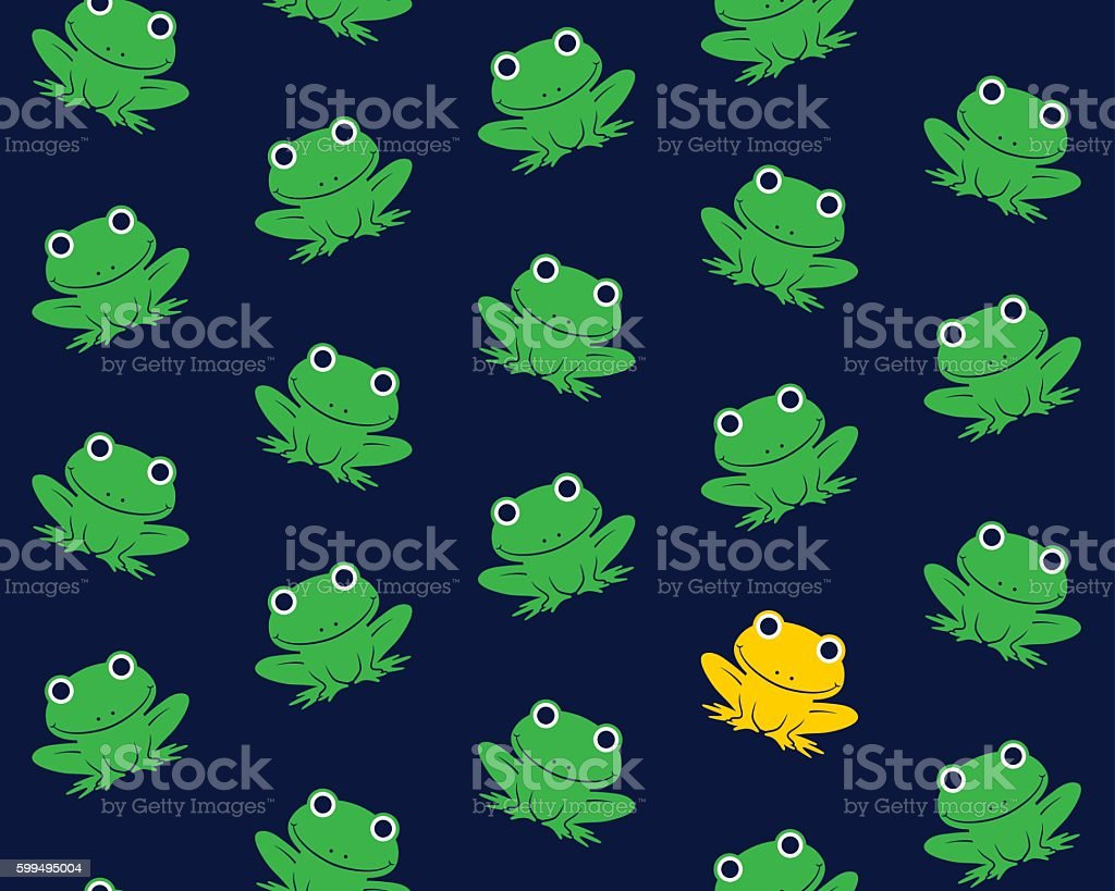 Vector image of green frogs with one in gold colored vector art illustration