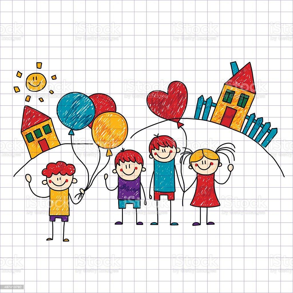 Vector image of happy children. Notebook paper. vector art illustration