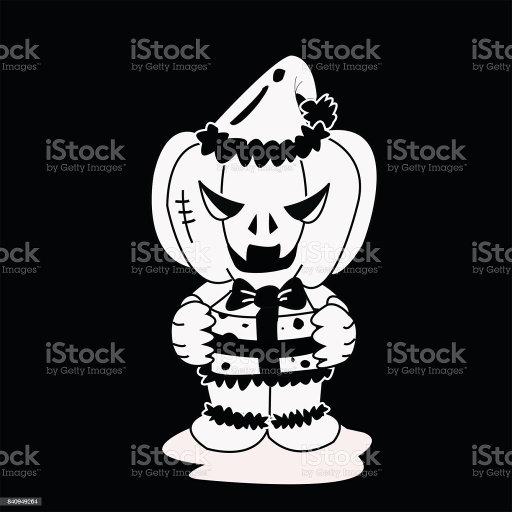 Vector image of Haunted pumpkin in Santa Cross dress with gift box is black and white color in Halloween concept. vector art illustration