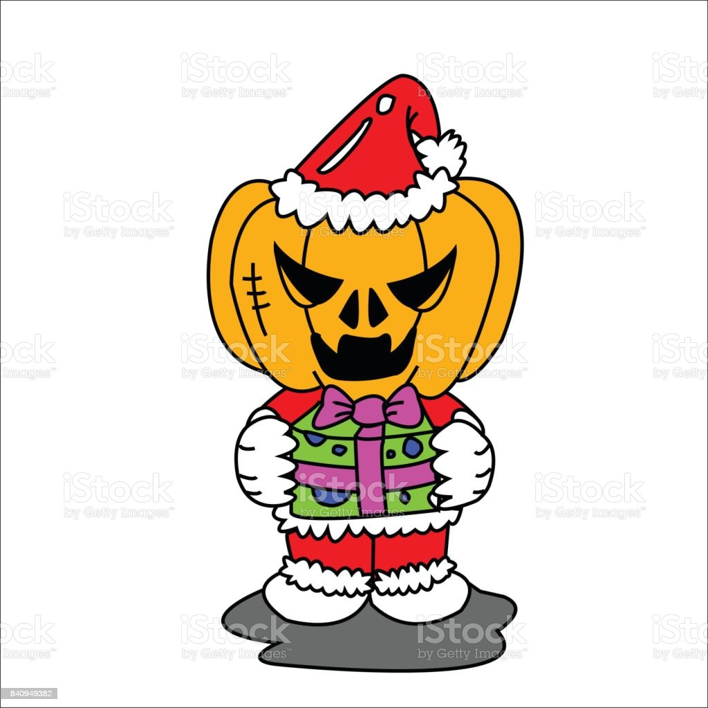 Vector image of Haunted pumpkin in Santa Cross dress with gift box with white background.  Halloween concept. vector art illustration