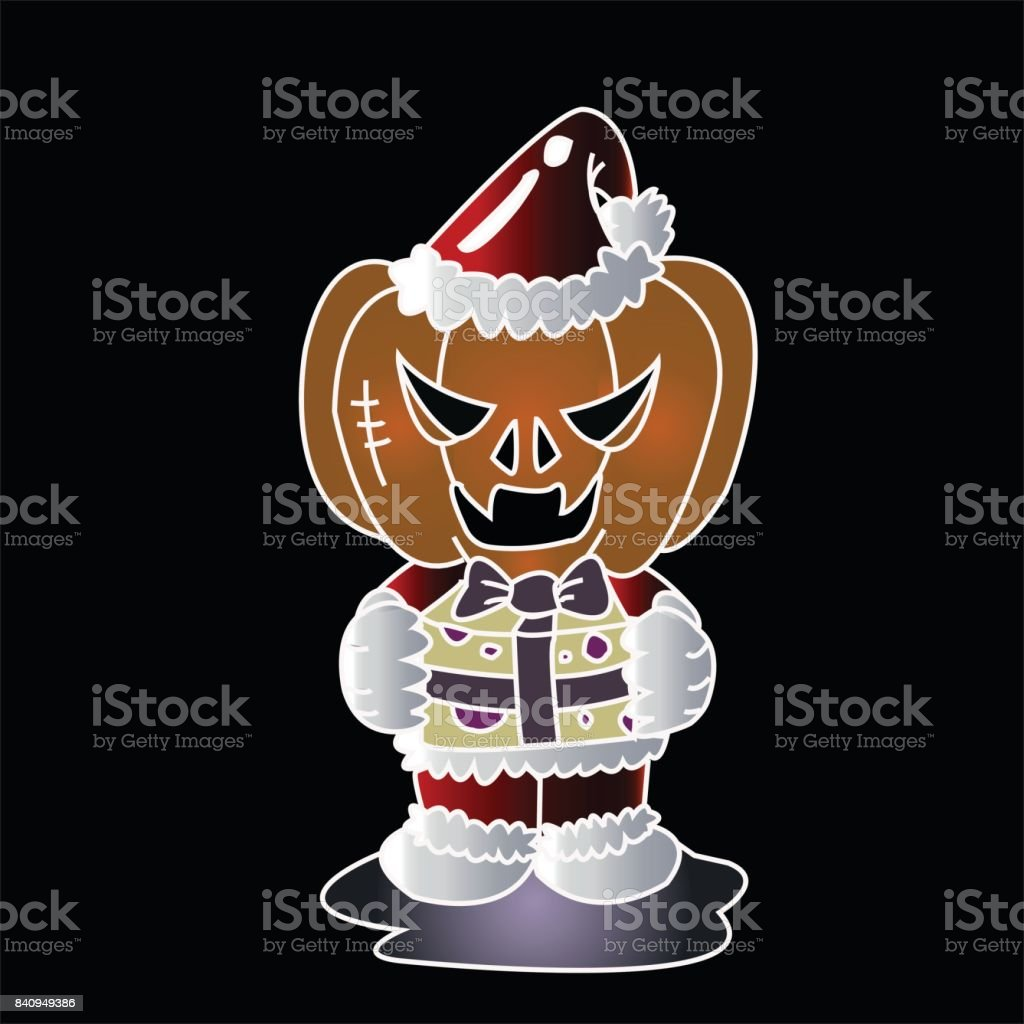 Vector image of Haunted pumpkin in Santa Cross dress with gift box with black background. Halloween concept. vector art illustration
