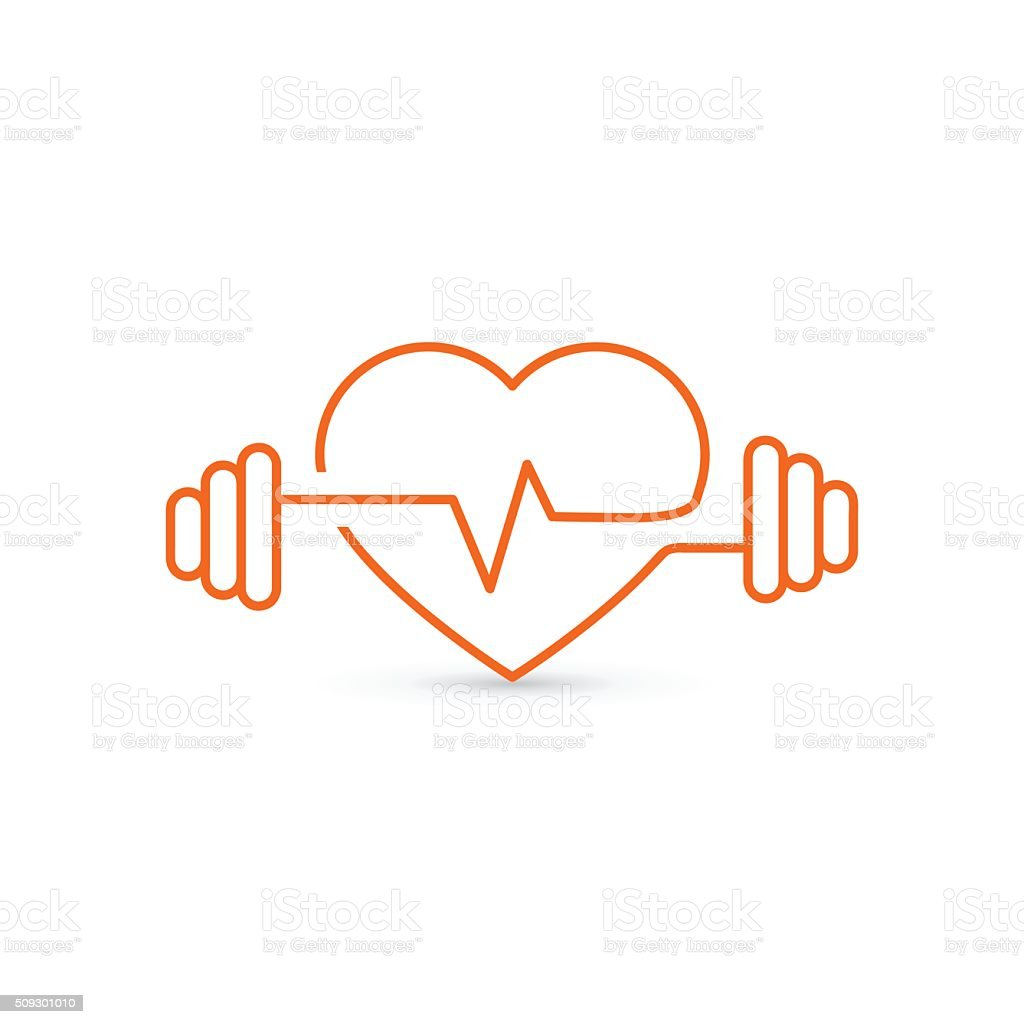 Vector image of heart and dumbbell vector art illustration