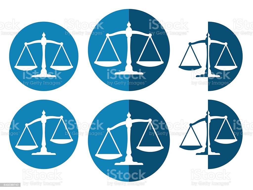 Vector image of justice balance icons vector art illustration