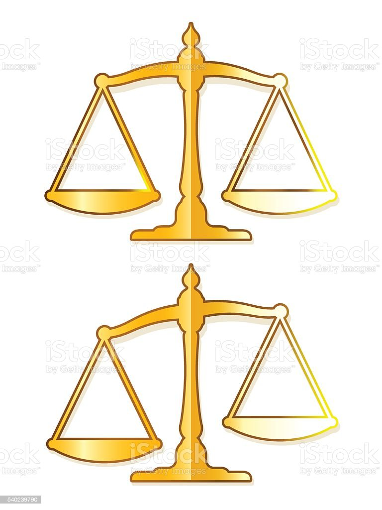 Vector image of justice balance made of brass vector art illustration