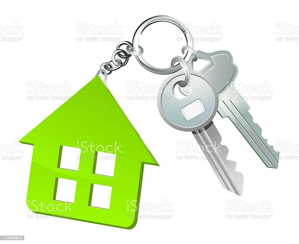 Vector image of keys on a keychain with a cutout house fob royalty-free stock vector art