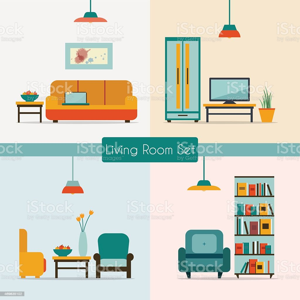 Vector image of living room furniture vector art illustration