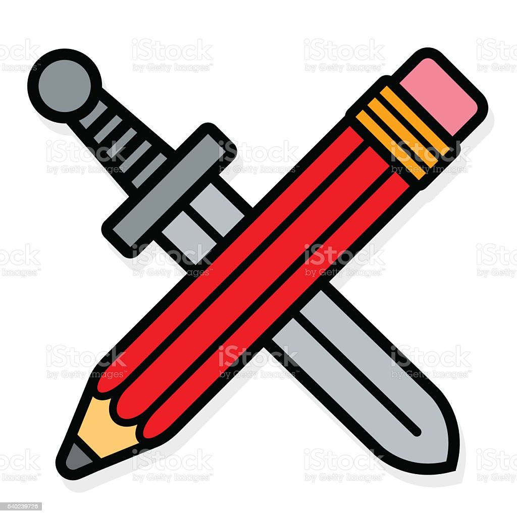 Vector image of red pencil and sword royalty-free stock vector art