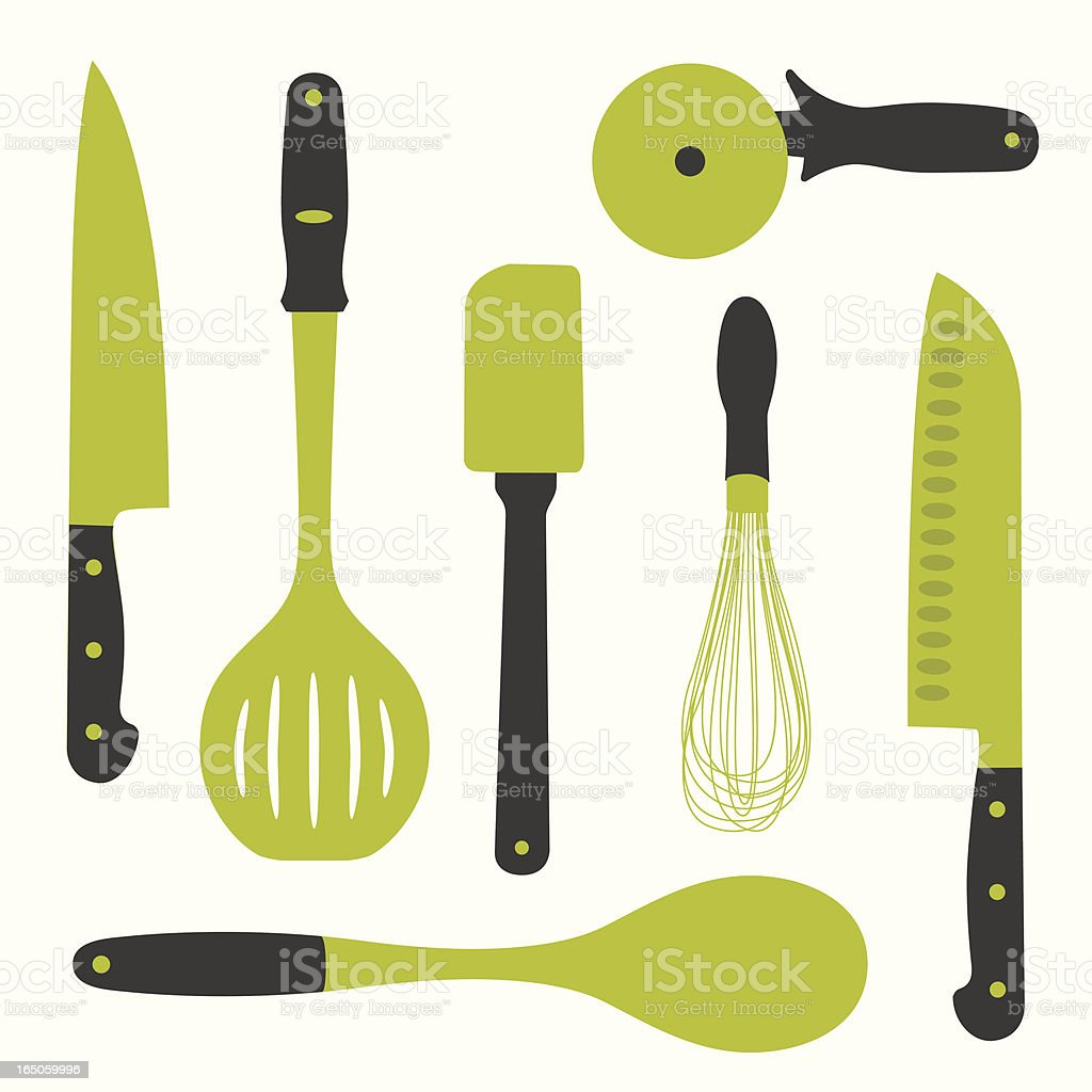 Vector image of seven kitchen utensils in gold and black vector art illustration