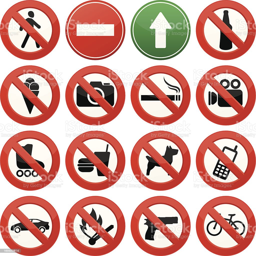 Vector image of signs with prohibited activities royalty-free stock vector art