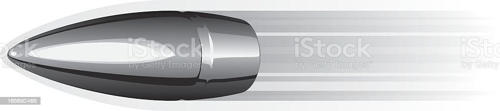Vector image of speeding silver bullet vector art illustration