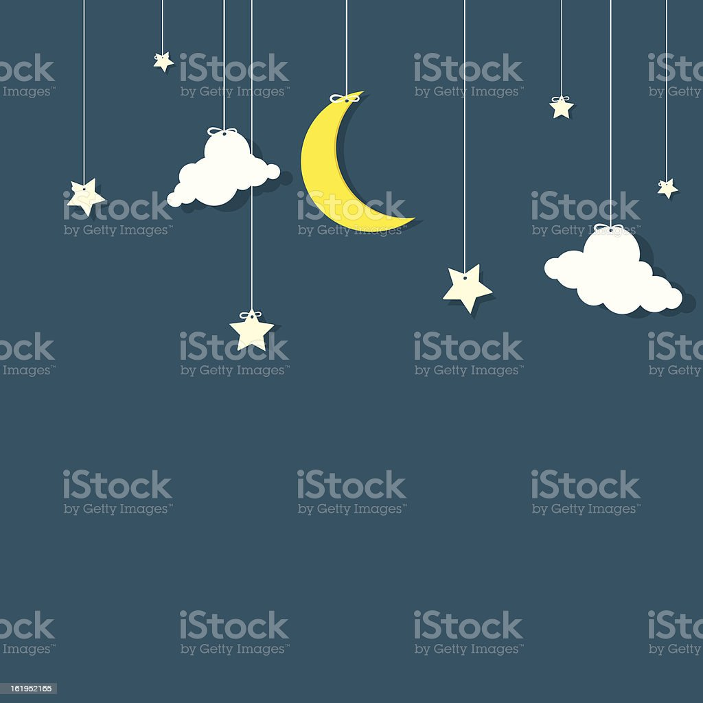 A vector image of stars, clouds, and a crescent moon vector art illustration