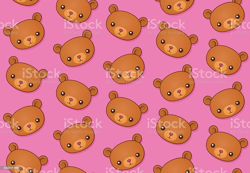 Vector image of teddy bears over pink background vector art illustration