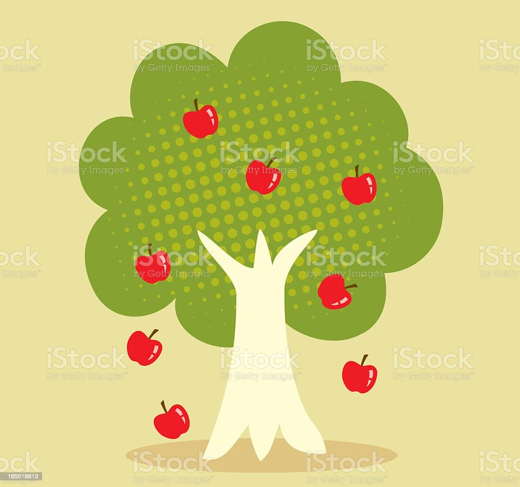 Vector image of tree and apples falling vector art illustration
