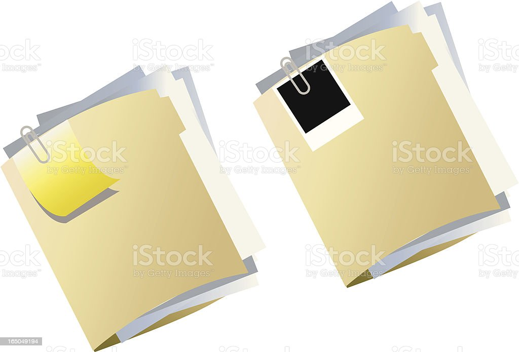 Vector image of two beige folders full of paperwork royalty-free stock vector art
