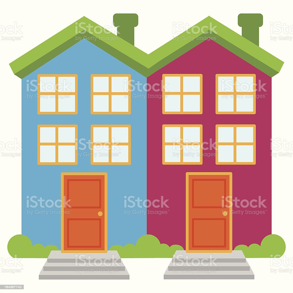 Vector Image of Two Brightly Colored Semi-Detached Houses vector art illustration