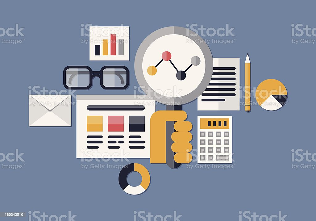 Vector image of various web analytic icons vector art illustration