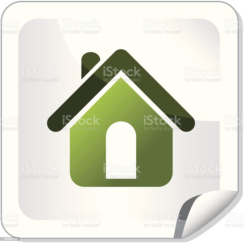 Vector image of white button with green house icon on it royalty-free stock vector art