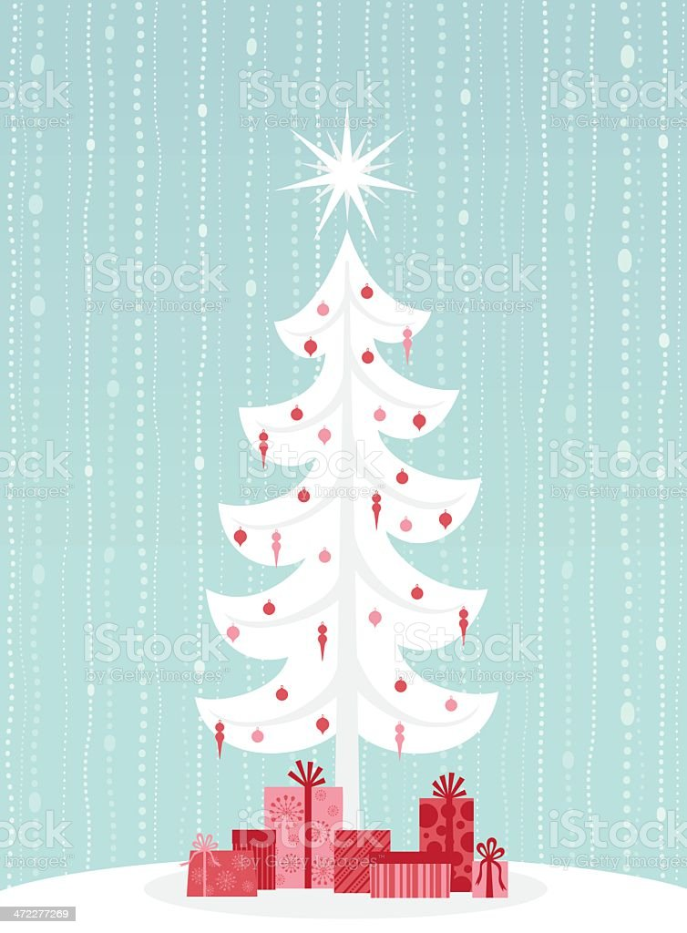 Vector image of white pine tree with red presents royalty-free stock vector art