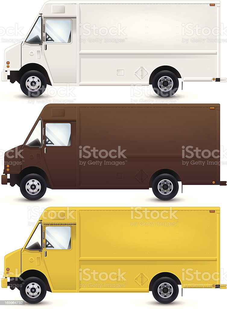 A vector image of work trucks that are in different colors vector art illustration