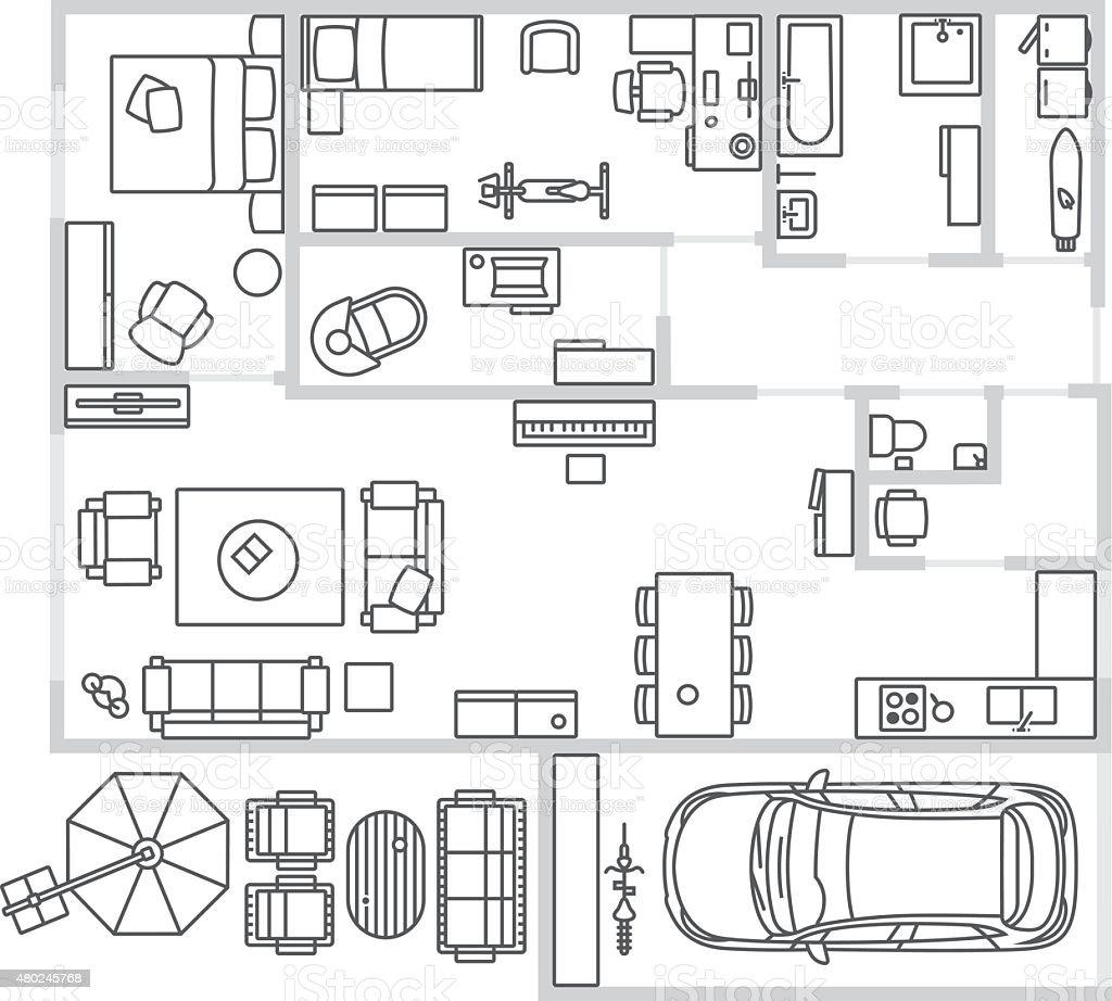 Vector image set of furniture, appliances and car vector art illustration