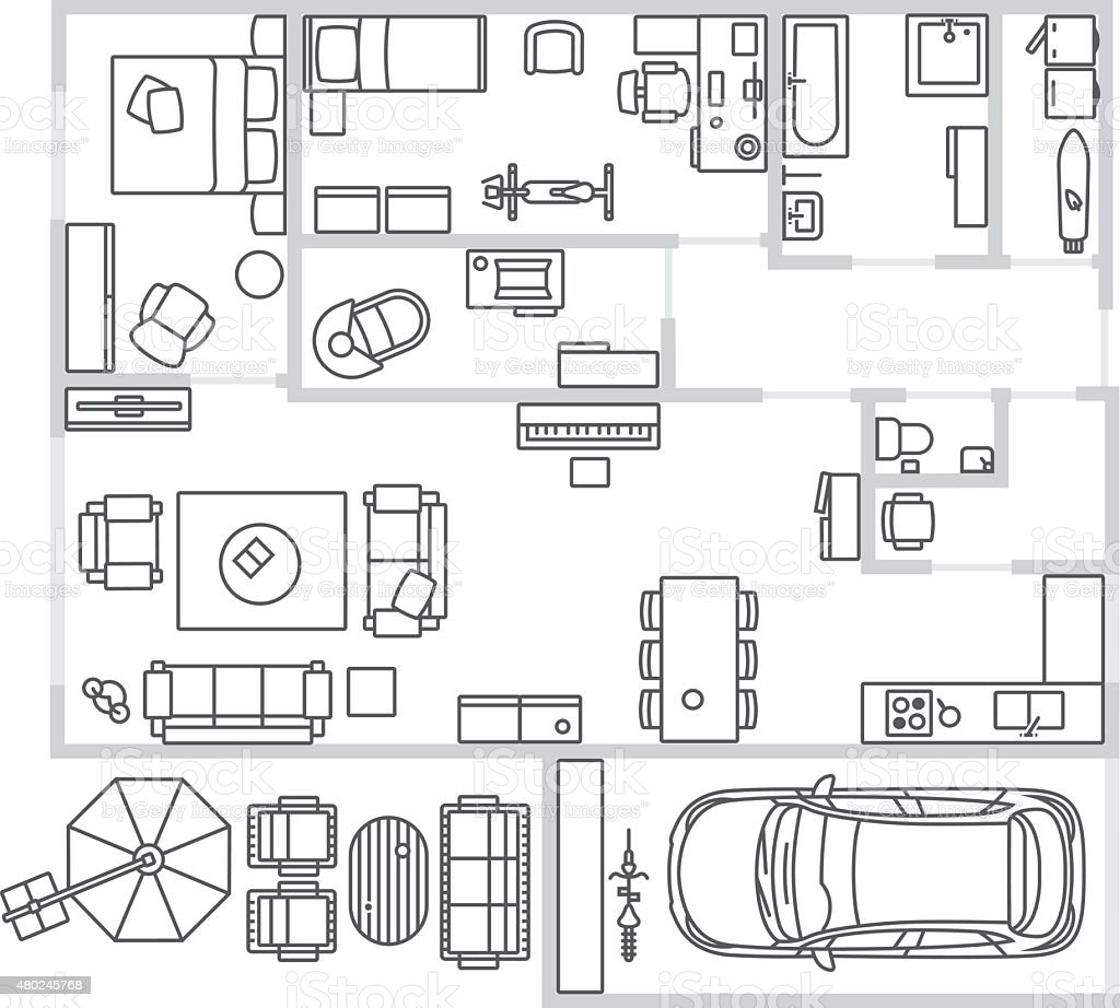 Vector image set of furniture, appliances and car vector art illustration