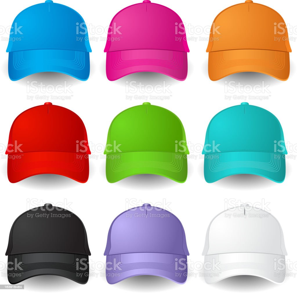 Vector images of multicolored baseball caps vector art illustration